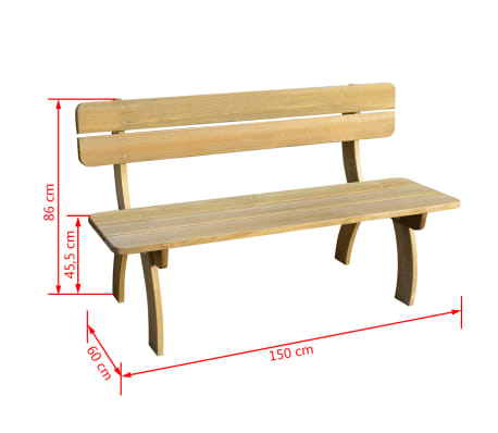 vidaXL Banco de jardín de madera de pino impregnada 150 cm[3/3]
