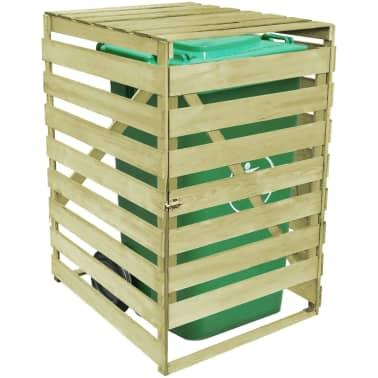 vidaXL Abri pour poubelle 240 L Bois imprégné FSC[3/3]