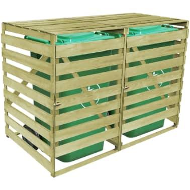 vidaXL Dvojna lopa za smetnjak 240 L FSC odobrena borovina[4/4]