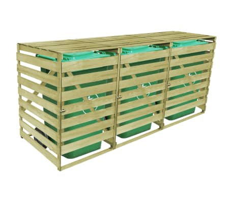 vidaXL Triple Wheelie Bin Shed 240 L FSC Impregnated Wood[4/4]