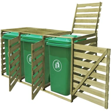 vidaXL Triple Wheelie Bin Shed 240 L FSC Impregnated Wood[3/4]