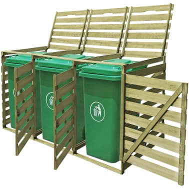 vidaXL Triple Wheelie Bin Shed 240 L FSC Impregnated Wood[1/4]