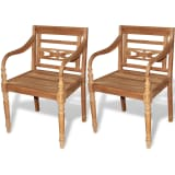 vidaXL Batavia Chairs 2 pcs Solid Teak Wood