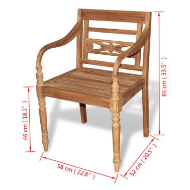 vidaXL Teak Batavia Chair 2 pcs[5/5]