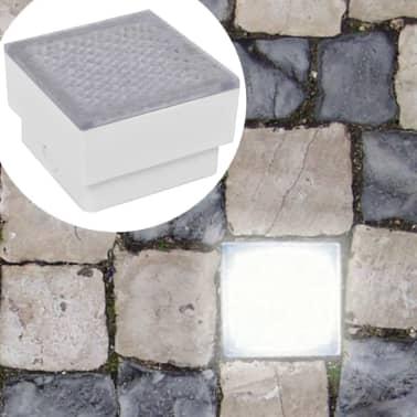 vidaXL Luzes LED de encastrar no chão 6 pcs 100x100x68 mm[1/9]