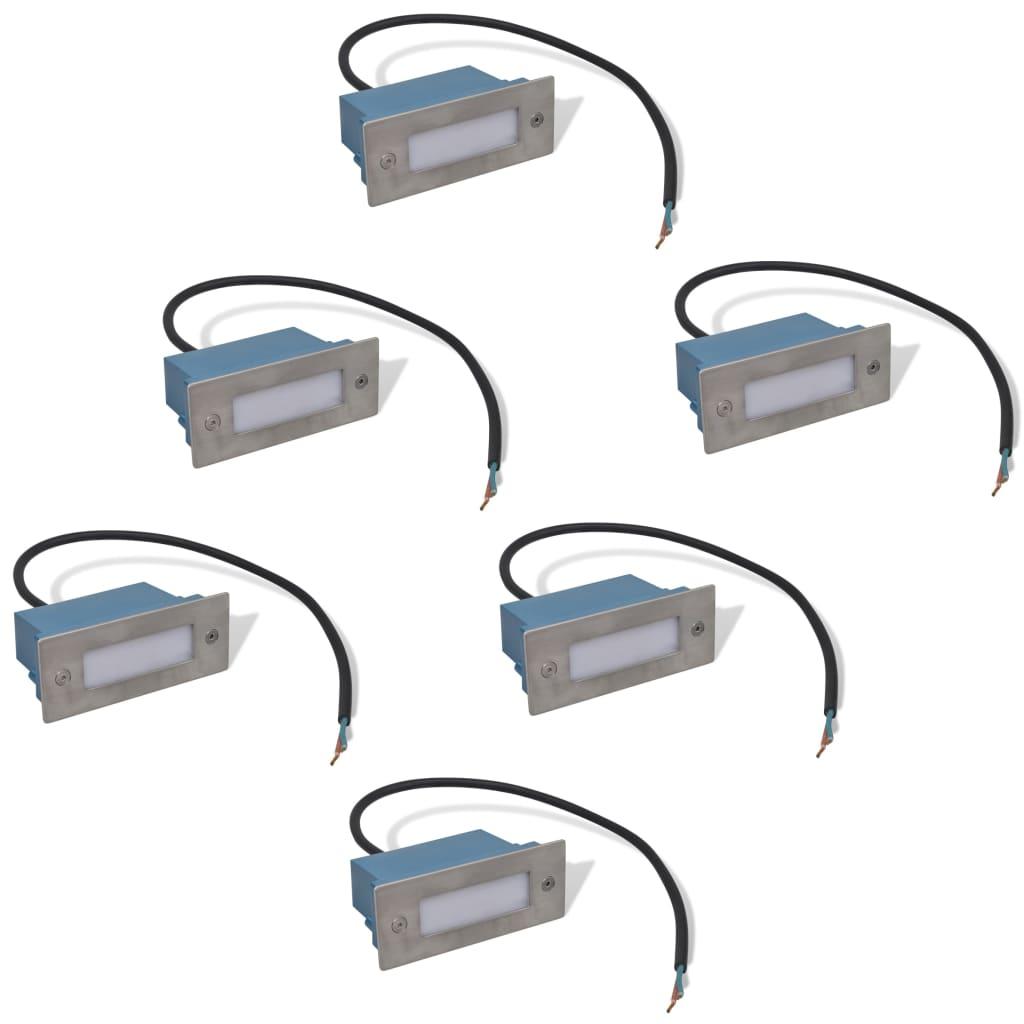vidaXL Φωτιστικά LED Χωνευτά για Σκάλες 6 τεμ. 44 x 111 x 56 χιλ.