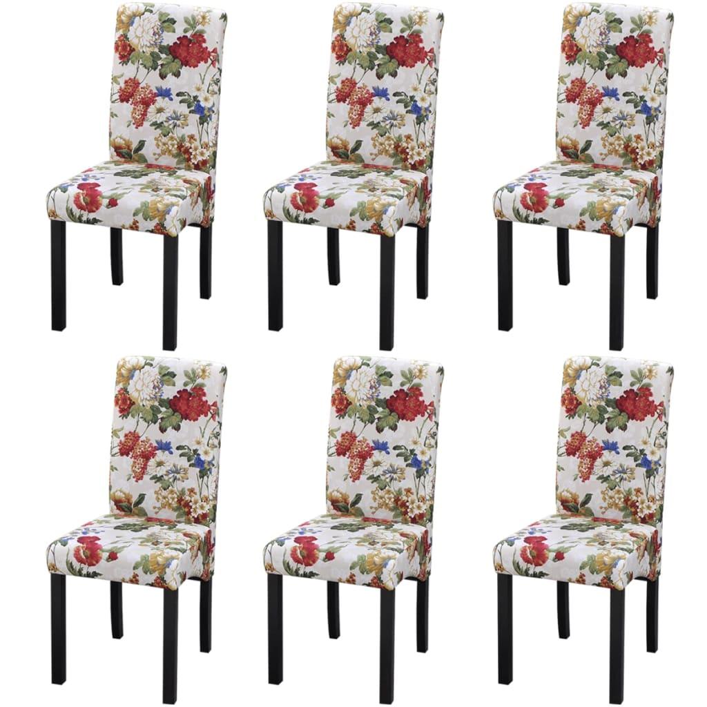 vidaXL Καρέκλες Τραπεζαρίας 6 τεμ. με Φλοράλ Σχέδιο Ξύλινες