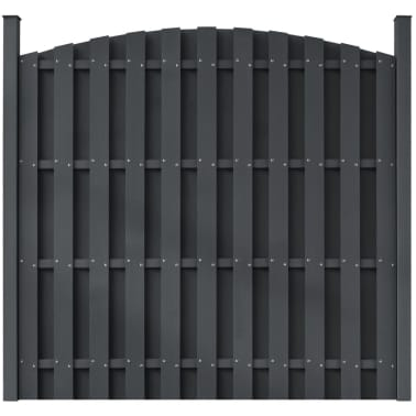 "vidaXL WPC Fence Panel with 2 Posts 71""x(65""-71"") Curved Gray[1/5]"
