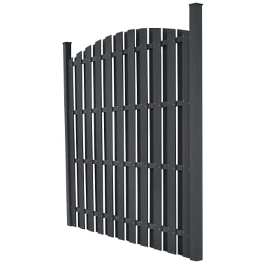 "vidaXL WPC Fence Panel with 2 Posts 71""x(65""-71"") Curved Gray[2/5]"