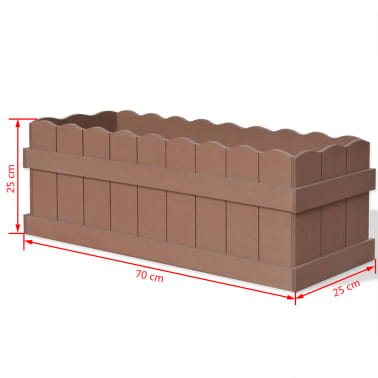 vidaXL WPC Garden Planter 70x25x25 cm Brown[5/6]
