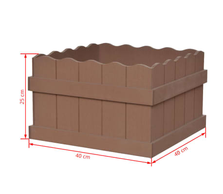 vidaXL WPC Garden Planter 40x40x25 cm Brown[5/5]