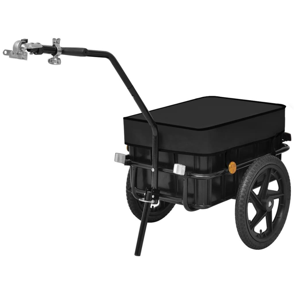vidaXL Remorcă/căruț pentru bicicletă, 70 L, negru imagine vidaxl.ro