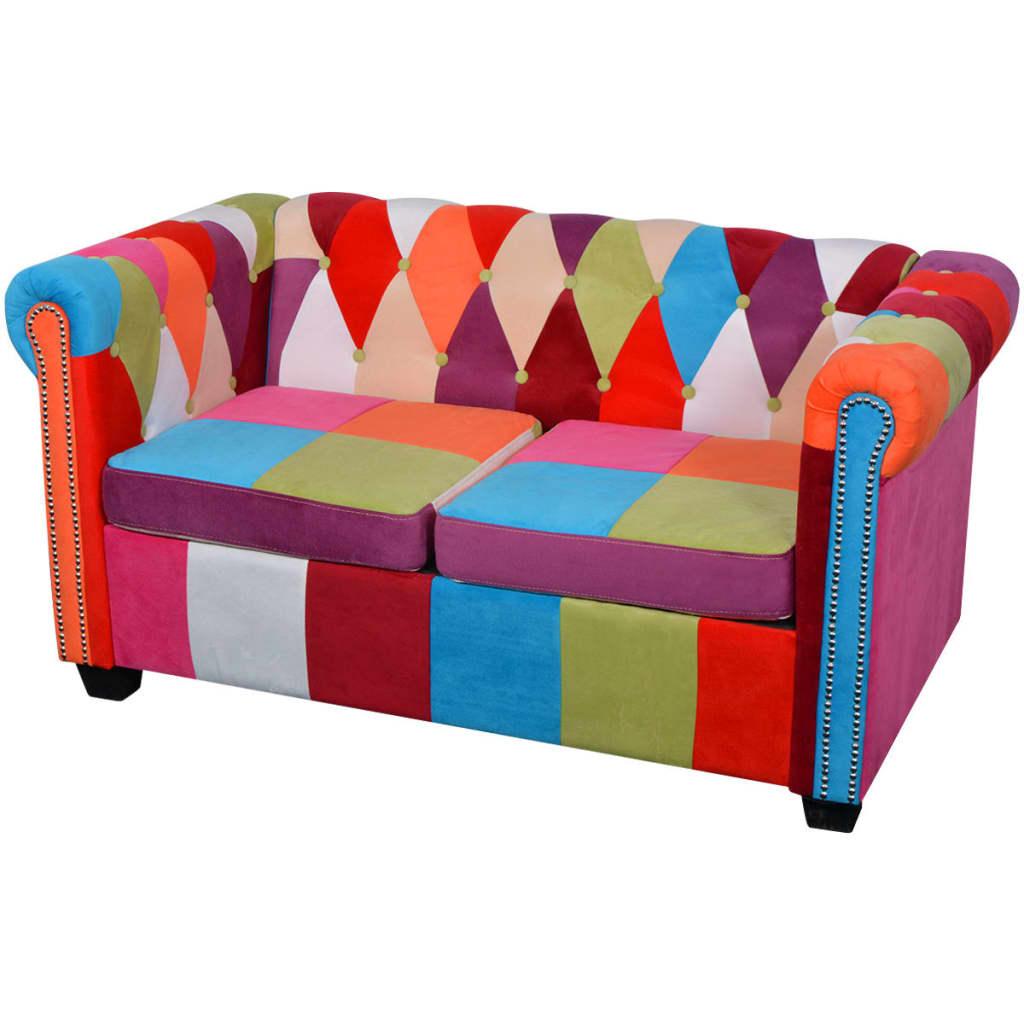 vidaXL Dwuosobowa, materiałowa sofa Chesterfield