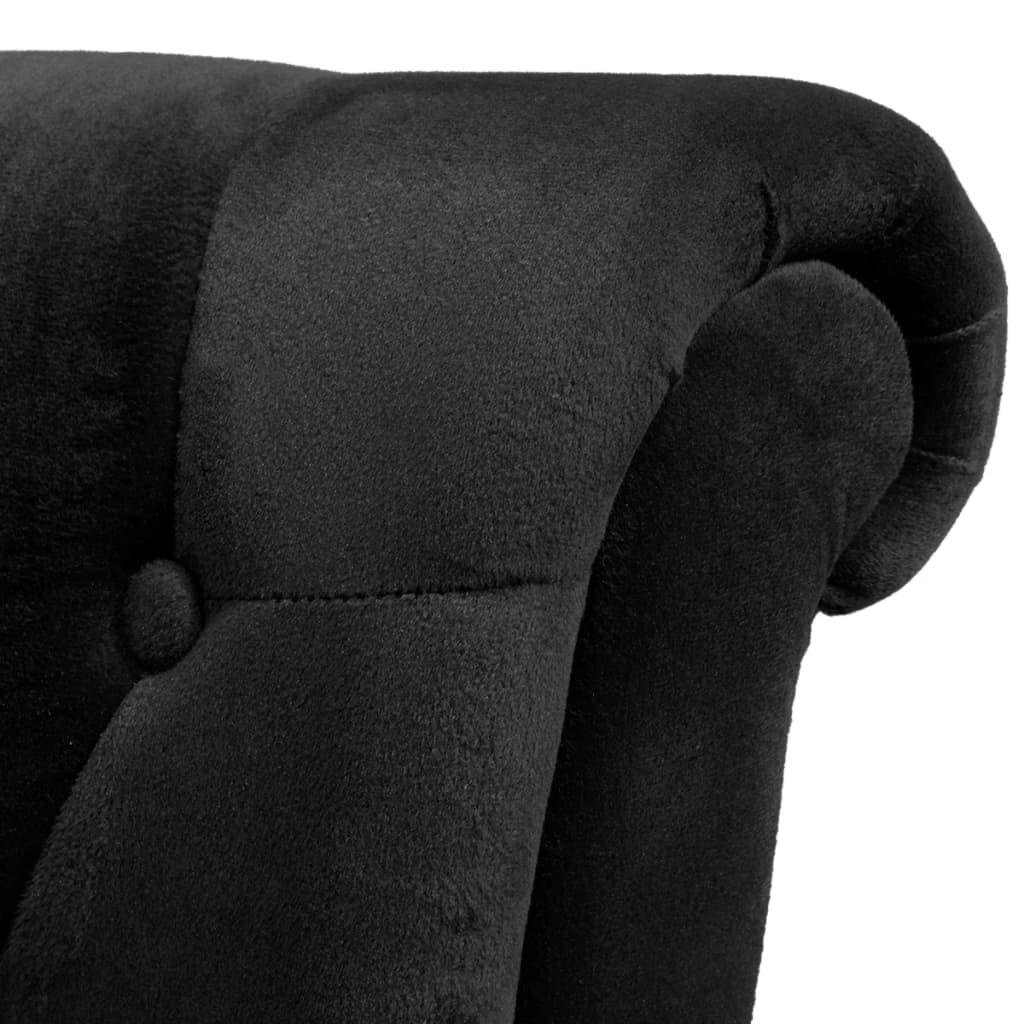 Fauteuil hoge rugleuning stof zwart