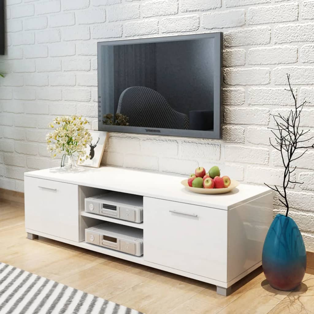 vidaXL TV stolek vysoce lesklý, bílý 120x40,3x34,7 cm