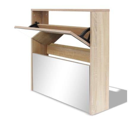vidaXL Skoskåp med 2 lådor och spegel 63x17x67 cm ek[2/6]