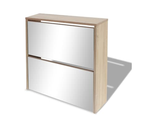 vidaXL skoskab 2 rum spejl egetræ 63 x 17 x 67 cm[3/6]
