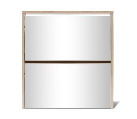vidaXL skoskab 2 rum spejl egetræ 63 x 17 x 67 cm[4/6]