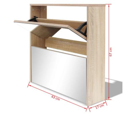 vidaXL Skoskåp med 2 lådor och spegel 63x17x67 cm ek[6/6]
