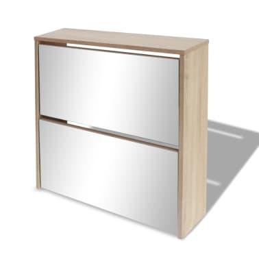 vidaXL Skoskåp med 2 lådor och spegel 63x17x67 cm ek[3/6]
