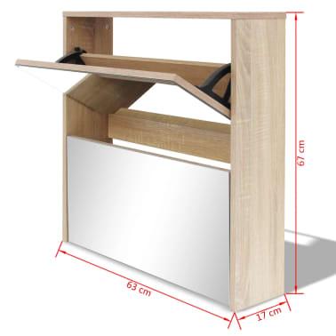 vidaXL skoskab 2 rum spejl egetræ 63 x 17 x 67 cm[6/6]