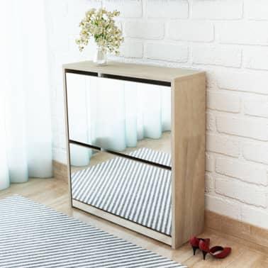 vidaXL Skoskåp med 2 lådor och spegel 63x17x67 cm ek[1/6]