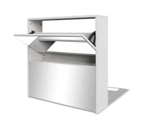 vidaXL Mueble zapatero blanco 2 compartimentos con espejo 63x17x67 cm[2/5]