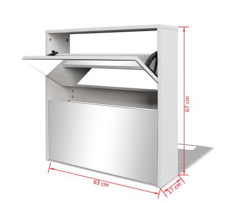 vidaXL Mueble zapatero blanco 2 compartimentos con espejo 63x17x67 cm[5/5]