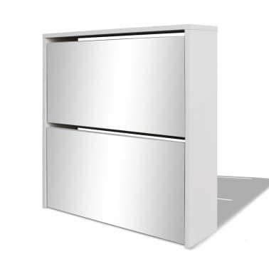 vidaXL Mueble zapatero blanco 2 compartimentos con espejo 63x17x67 cm[3/5]