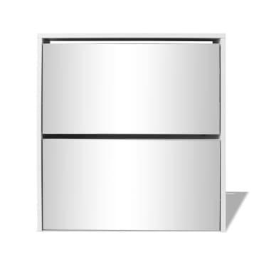 vidaXL Batų dėžė, 2 lygių su veidrodžiais, balta, 63x17x67 cm[4/5]