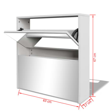 vidaXL Batų dėžė, 2 lygių su veidrodžiais, balta, 63x17x67 cm[5/5]