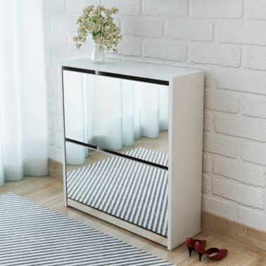 vidaXL Mueble zapatero blanco 2 compartimentos con espejo 63x17x67 cm[1/5]