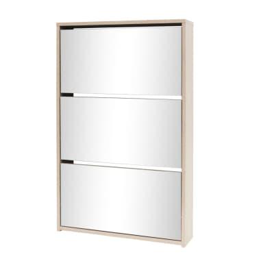 vidaXL Mueble zapatero de roble con 3 compartimentos con espejo[2/6]