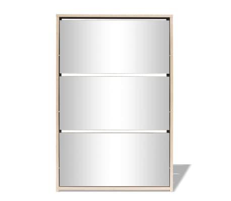 vidaXL Mueble zapatero de roble con 3 compartimentos con espejo[3/6]