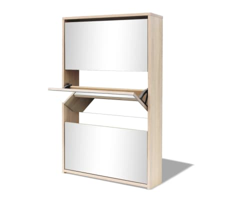 vidaXL Scarpiera a 3 Strati con Specchio Rovere 63x17x102,5 cm[4/6]