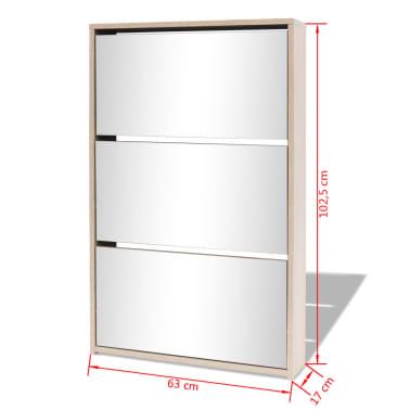 vidaXL Scarpiera a 3 Strati con Specchio Rovere 63x17x102,5 cm[6/6]