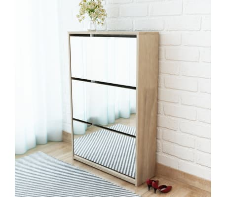 vidaXL Mueble zapatero de roble con 3 compartimentos con espejo[1/6]