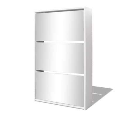 vidaXL Batų dėžė, 3 lygių su veidrodžiais, balta, 63x17x102,5 cm[2/5]