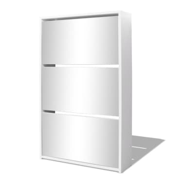vidaXL Skoskap 3 høyder speil hvit 63x17x102,5 cm[2/5]