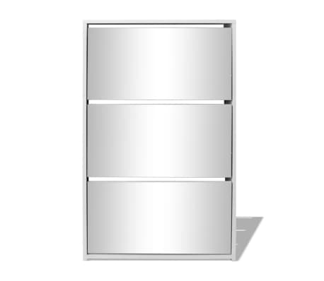 vidaXL Skoskap 3 høyder speil hvit 63x17x102,5 cm[3/5]