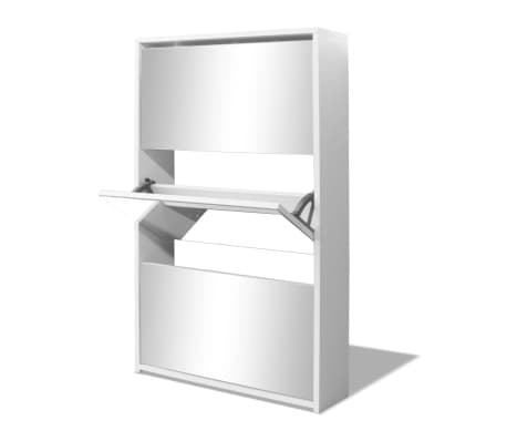 vidaXL Batų dėžė, 3 lygių su veidrodžiais, balta, 63x17x102,5 cm[4/5]