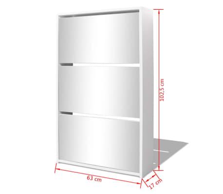 vidaXL Skoskap 3 høyder speil hvit 63x17x102,5 cm[5/5]
