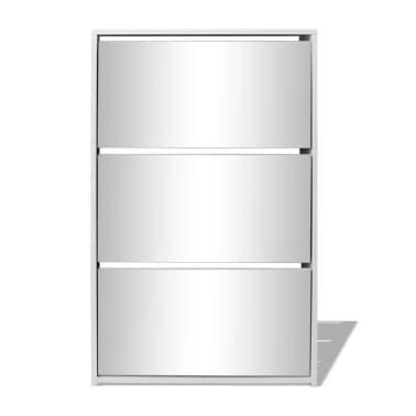 vidaXL Batų dėžė, 3 lygių su veidrodžiais, balta, 63x17x102,5 cm[3/5]
