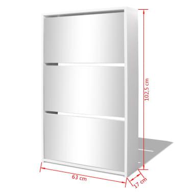 vidaXL Schoenenkast drielaags met spiegel 63x17x102,5 cm wit[5/5]