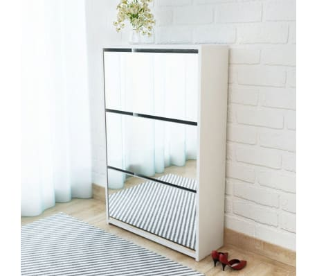 vidaXL Batų dėžė, 3 lygių su veidrodžiais, balta, 63x17x102,5 cm[1/5]
