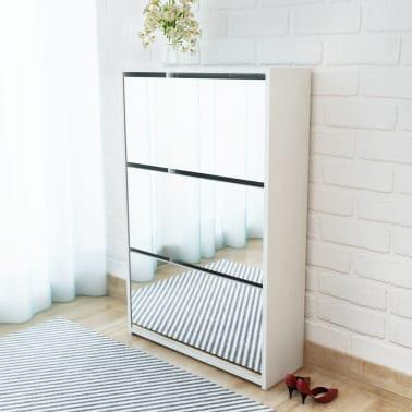 vidaXL Skoskap 3 høyder speil hvit 63x17x102,5 cm[1/5]