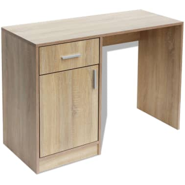 vidaXL Desk with Drawer and Cabinet Oak 100x40x73 cm[2/6]