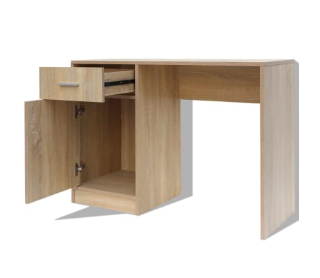 vidaXL Desk with Drawer and Cabinet Oak 100x40x73 cm[4/6]