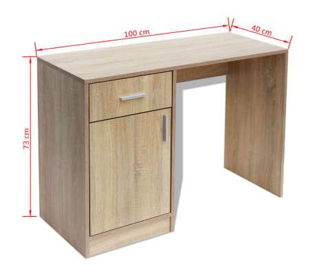 vidaXL Desk with Drawer and Cabinet Oak 100x40x73 cm[6/6]