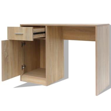 vidaxl bureau avec tiroir et placard 100 x 40 x 73 cm ch ne. Black Bedroom Furniture Sets. Home Design Ideas